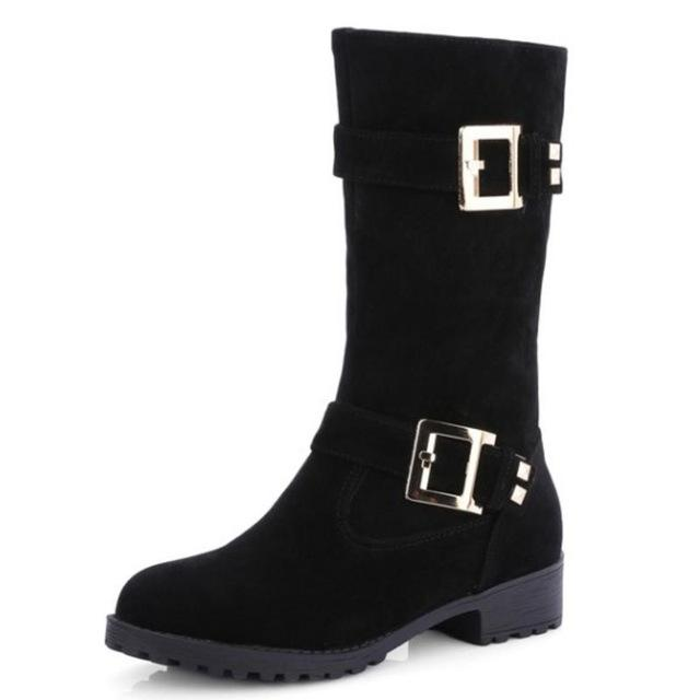 Women Half Mid Calf Solid tread Boots Accented With Metal Buckles - icu-sexy