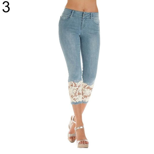 Women Sexy Denim Crochet Floral Lace Denim Capri Pants - icu-sexy