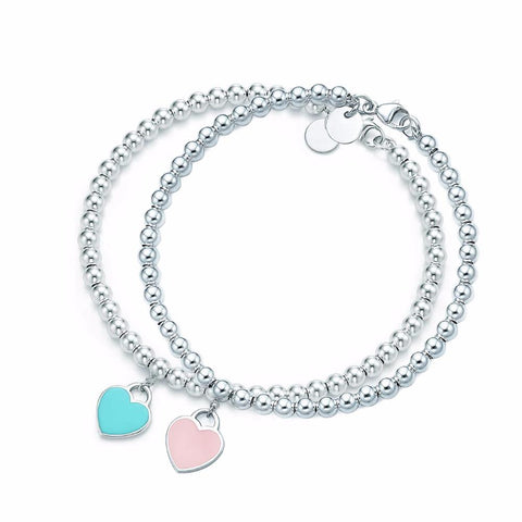 Tiffany Inspired Heart Shaped Stainless Steel Blue & Pink Engraved Charm Bracelet - ICU SEXY