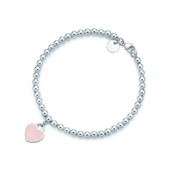 Tiffany Inspired Heart Shaped Stainless Steel Blue & Pink Pendant Charm Bracelet - icu-sexy