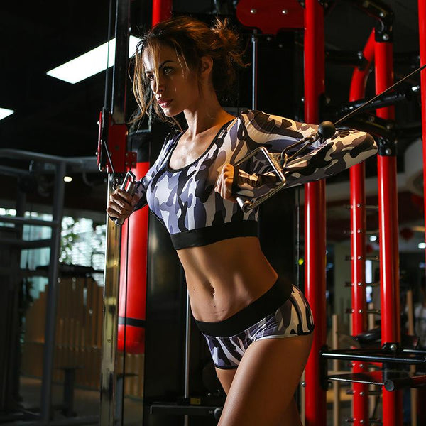 Women's Long Sleeve Camo Crop Top & Matching Shorts Fitness Suit - icu-sexy
