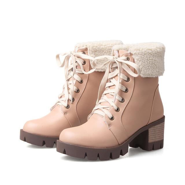 Womens' Fashion Lace Up Snow Solid Tread Square Heel Boots - icu-sexy