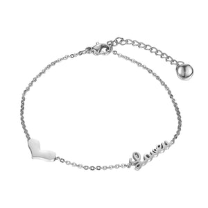 Inspired Heart Pendant Bracelet & Bangle Stainless Steel Love U Letter Fashion - ICU SEXY