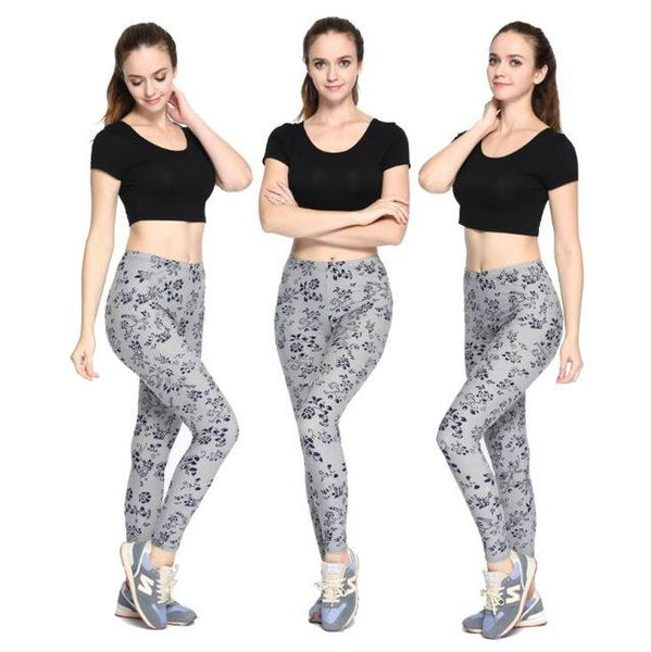 New Rose Flower Printed Fashion Leggings - ICU SEXY