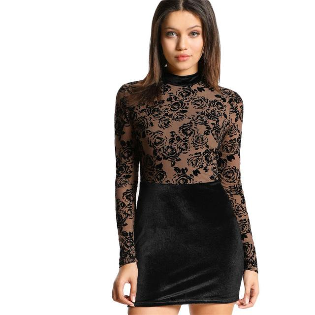 Floral Flock Mesh Bodice Combo Dress  Round Neck Long Sleeve Sexy Bodycon Dress With Lining Velvet Winter Dress