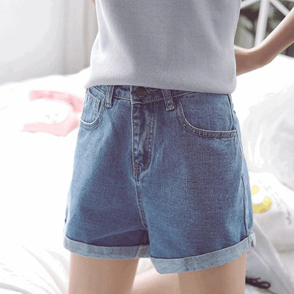 Women High Waist Loose Denim Shorts - ICU SEXY