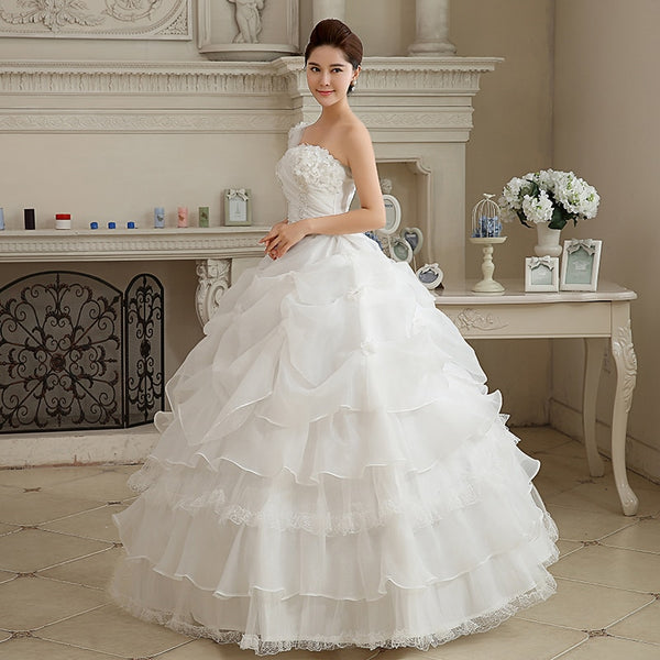 New White Single Shoulder Floor Length Princess Aline Tulle Bridal Gown - ICU SEXY