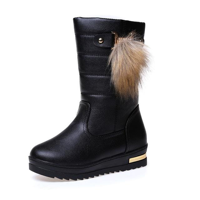 00832884ff4 ... Waterproof Winter Snow Boots Female Round Toe Solid Warm Women Boots Non -Slip Platform ...