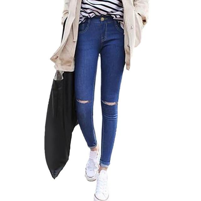 New Fashion Ripped Hole Knee Skinny Stretch Pencil Denim Pants For Ladies - icu-sexy