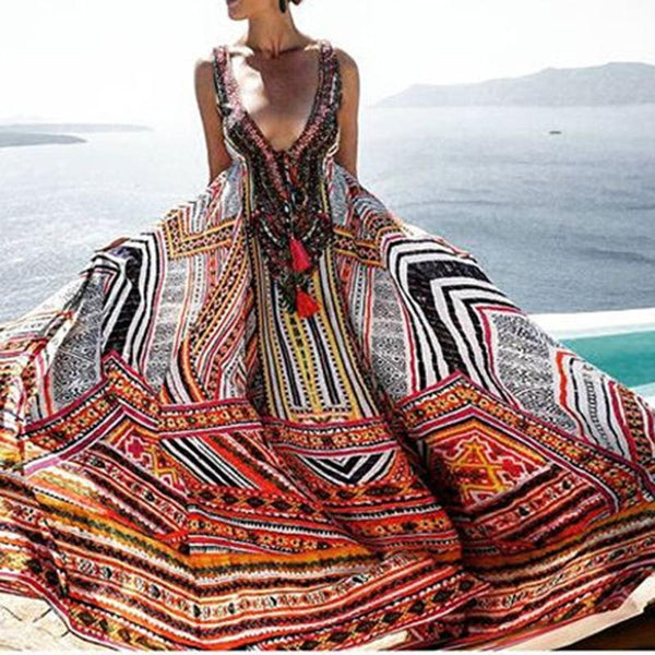 Fashion Womens Summer Dress Vintage Vintage Maxi Sundress - ICU SEXY