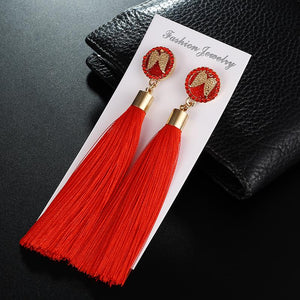 Designer Style Inspired   Angel Wing Long Silk Tassel Earrings - ICU SEXY