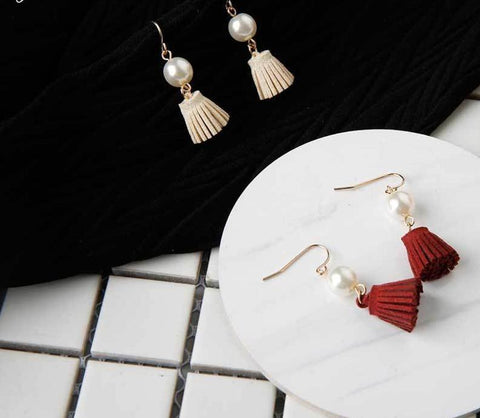 Designer Inspired Luxury Velvet Tassel Pearl Earrings - ICU SEXY