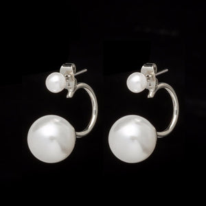 Designer Inspired Gold Silver Plated Double Pearl Stud Earrings - ICU SEXY