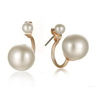 Designer Inspired Gold Silver Plated Double Pearl Stud Earrings - icu-sexy