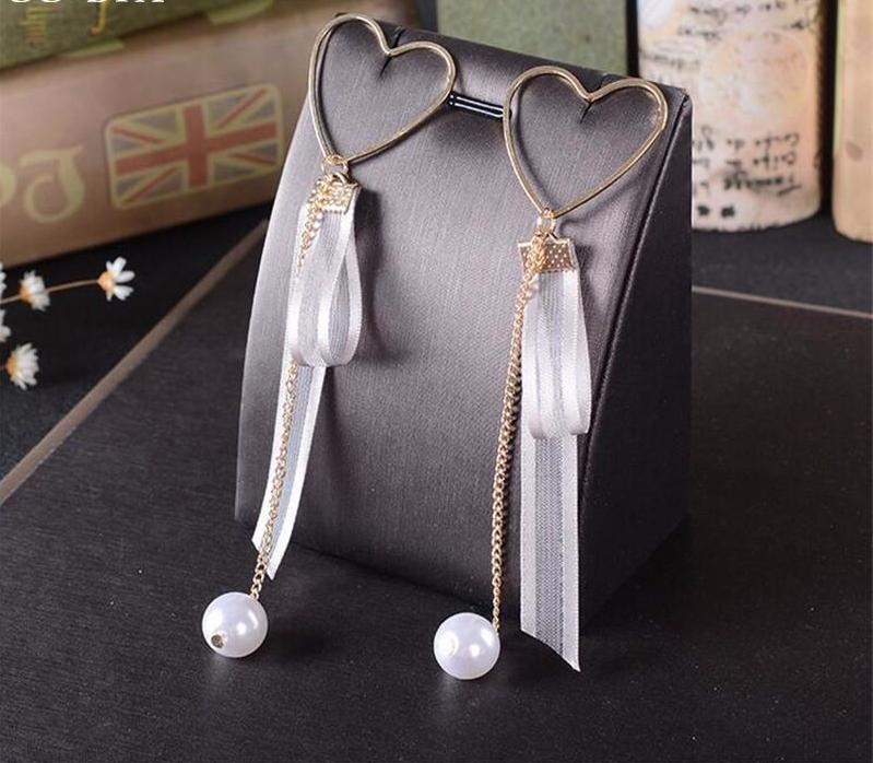 Designer Inspired Heart Pendant Pearl Crystal Silk Dangle Earrings - ICU SEXY