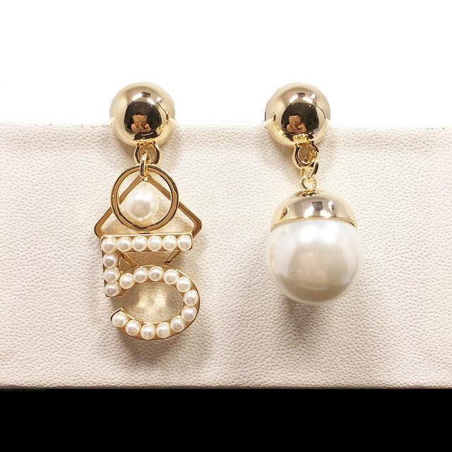 Designer Style Fashion Designer Style Inspired Pearl Number 5 Dangle Earrings - icu-sexy