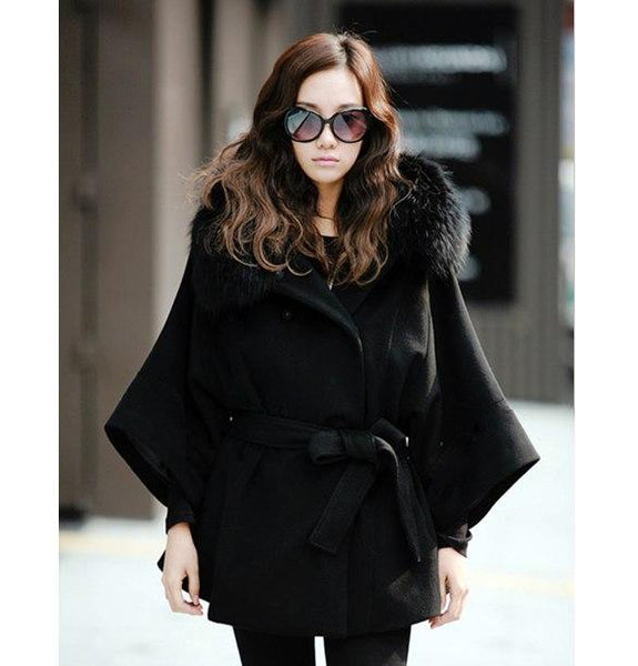 Women's Luxury Double Breasted Batwing Fur Hooded Collar Wool Coat - ICU SEXY