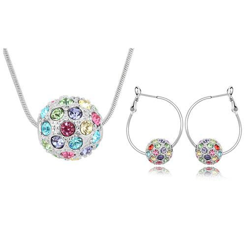 Multicolor Ball Necklace Earrings Jewelry Set - icu-sexy