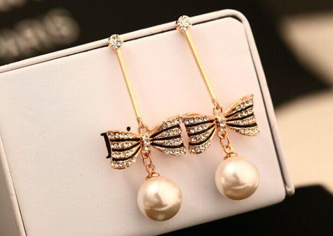 Pearl Bow Luxury Bow Earrings - ICU SEXY