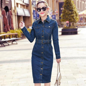 Designer Style Denim Jeans Dress - ICU SEXY