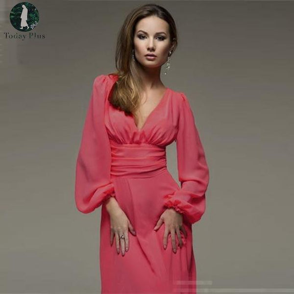 Women's Long Sleeve Solid Color Sexy Vintage Dress 6 Colors - ICU SEXY