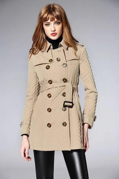 Women's Long Quilted Jacket Women's Doubled Breasted Winter Coat - ICU SEXY