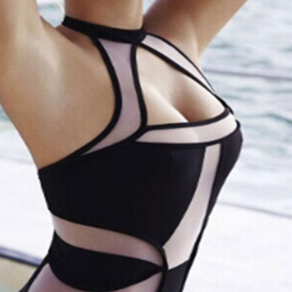 Splicing Sexy Ladies Bikini Swimsuit Swimwear Women High Waist Bikini Set Bathing Suits Net Yarn Connection Polyester S M L - ICU SEXY