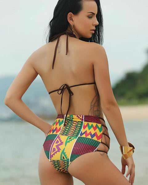 Split High Waist Hollow Out Tribal Print Push Up Bikini Set - icu-sexy