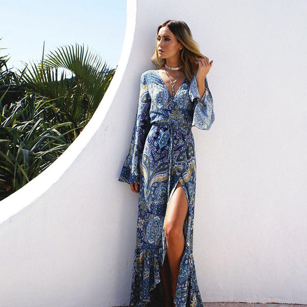 Swimsuit Coverup Bohemian Long Sleeve Dress - icu-sexy