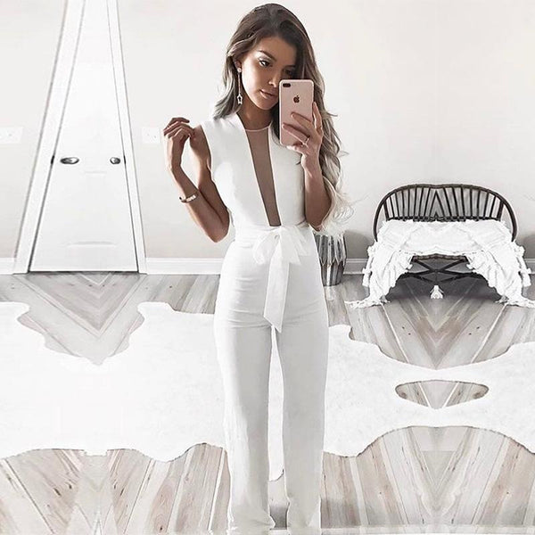 New Fashion Women's Sleeveless Vneck Bandage Jumpsuit Long Pants - ICU SEXY