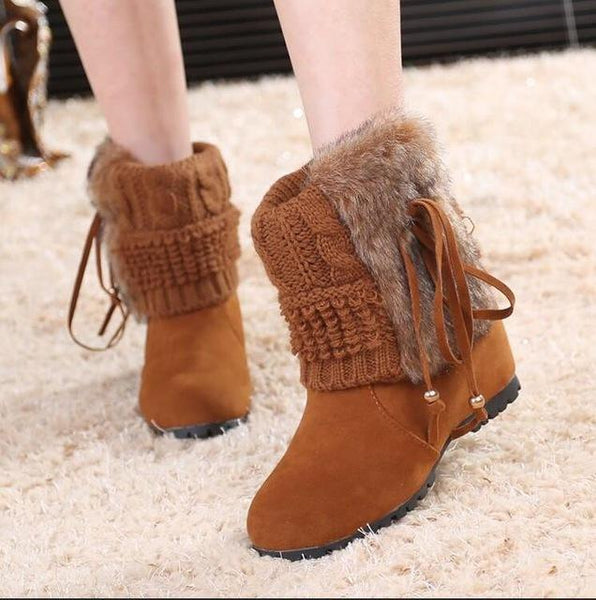 New Fashion Fur Wedge Heel Ankle Boots - icu-sexy