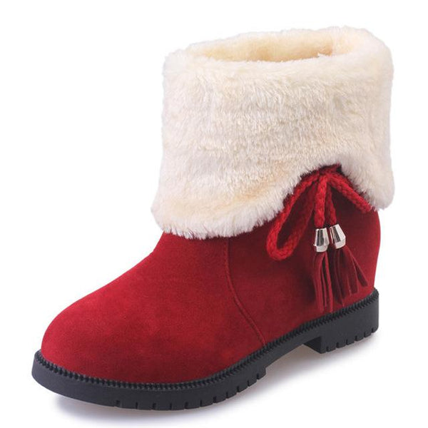 Women Plush Butterfly Knot Winter Flock Style Boot - ICU SEXY