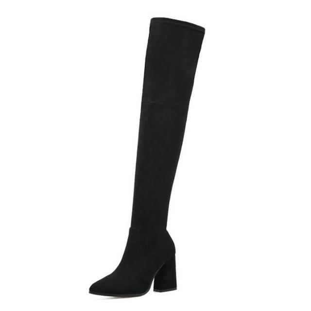 Hot Women's Square Heel Woolen Flock Fashion Boot Collection - icu-sexy