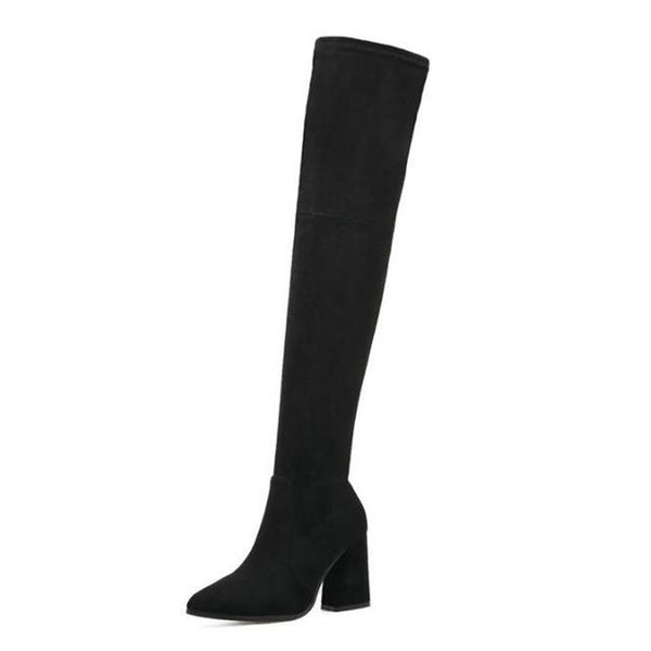 Hot Women's Square Heel Woolen Flock Fashion Boot Collection - ICU SEXY