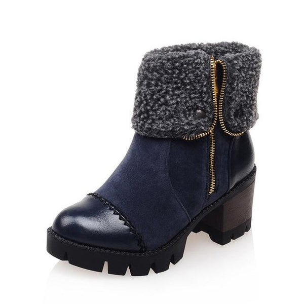 Women Ankle Short Fur Ankle Boots Solid Platform Tread  Womens Footwear - ICU SEXY