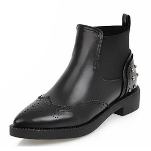 Women's Rivets Stylish Designer Style Fashion Ankle Boots - icu-sexy