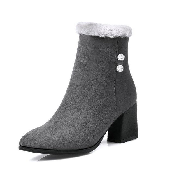 Fashion Women's Plush Square High Heel Ankle Boots - ICU SEXY