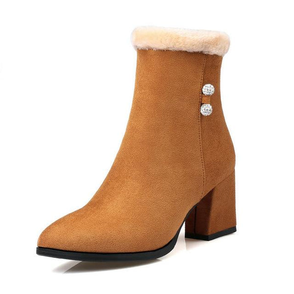 Fashion Women's Plush Square High Heel Ankle Boots - icu-sexy