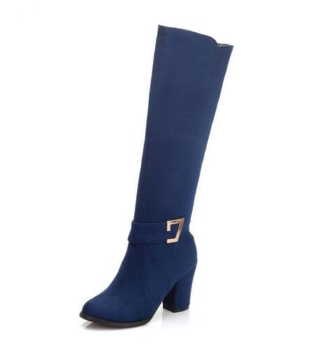New Fashion Ladies Sexy Knee High Zipper Long Thick Heel Boots - ICU SEXY