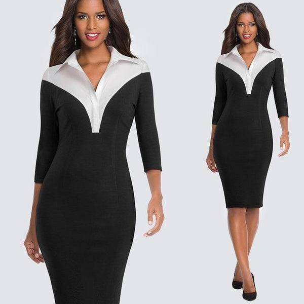 Women's Formal Turn-down Collar Bodycon Pencil Dress - icu-sexy