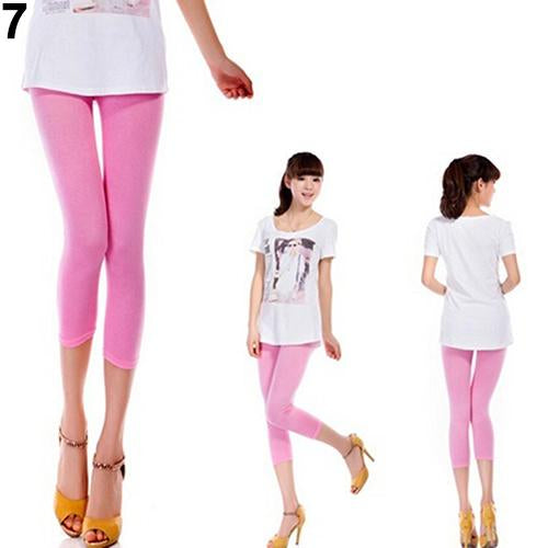 Women's Candy Color Capris Cropped Pants - icu-sexy