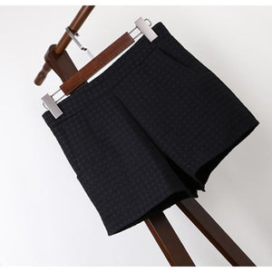 Women's Fall  Winter Fashion Plaid Black Shorts - ICU SEXY