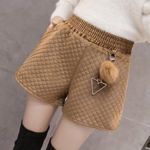 Women's Fall - Winter Fashion Vintage Velvet  Quilted Shorts - icu-sexy