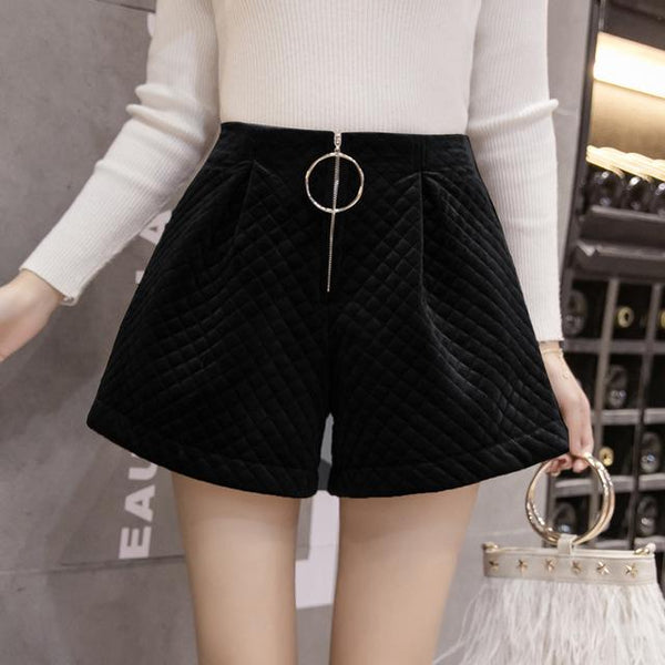 Velvet Plaid Quilted Elastic Waist Trouser Shorts - icu-sexy