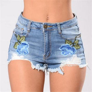 Women's Fashion Embroidered Women's Shorts - icu-sexy