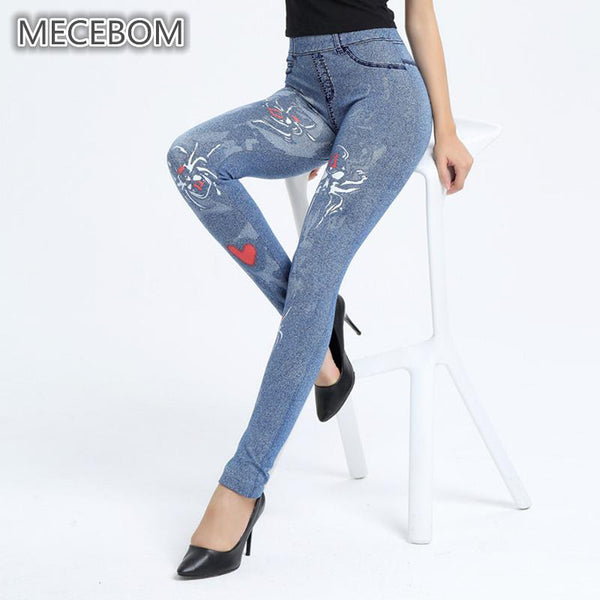 Fashion Women's Floral Denim Leggings - ICU SEXY