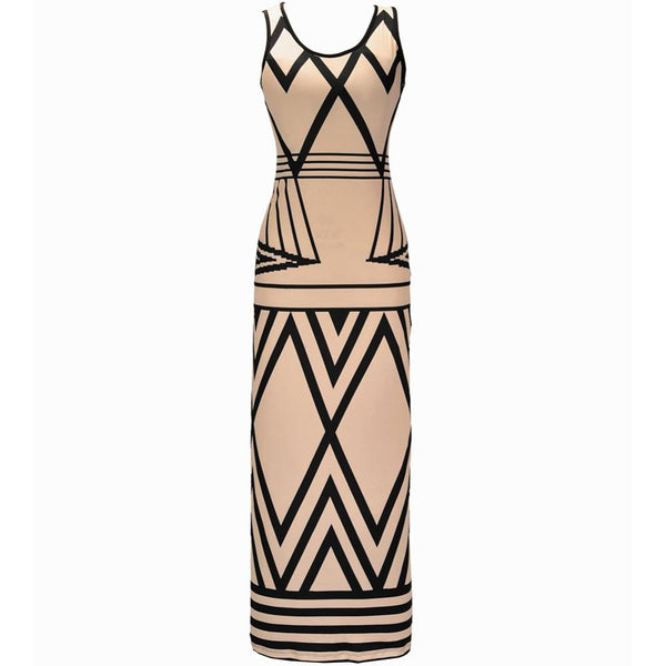 Women's Geometric Print Summer Fashion Casual Bodycon Dress - icu-sexy