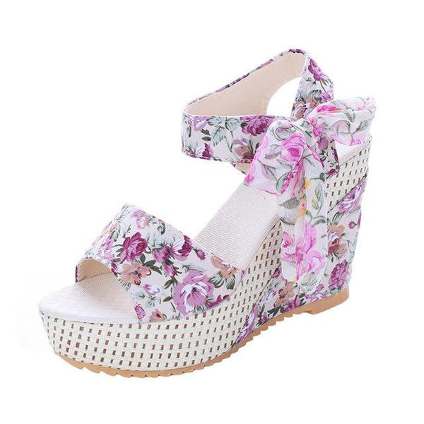 Women's Sandals Fashion Platform Floral Lace Belt Bow - ICU SEXY