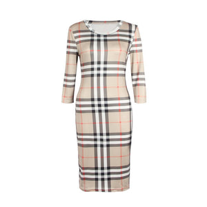 Women's Popular Designer Style Plaid Patterned Fashion Dress - icu-sexy