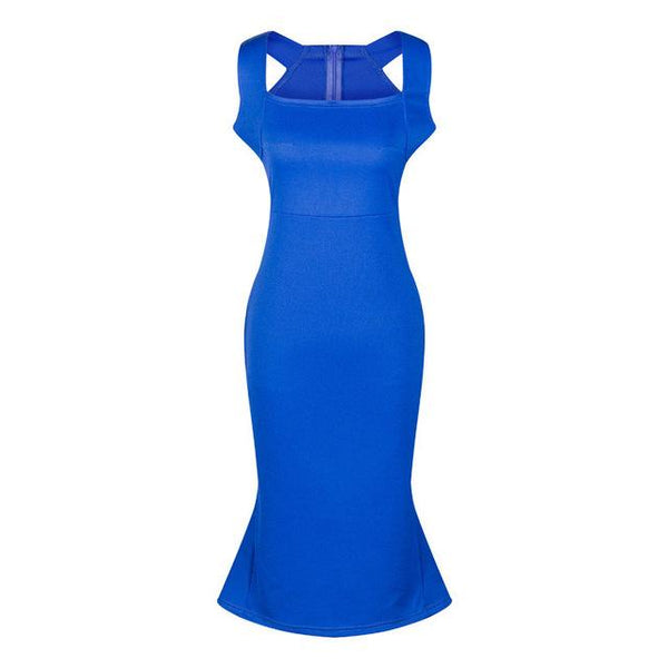 Royal Blue White Black Plus Size Bodycon Spaghetti Strap Bandage Mermaid Dress - ICU SEXY